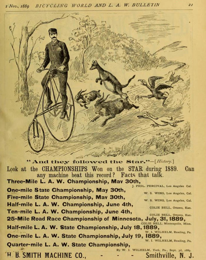American Star Bicycle Advertisement with bicycle racing championships won during 1889