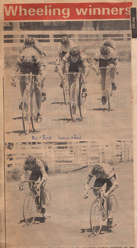 The dirt track around the Armidale showground doubled as a cycling track on various occasions throughout the twentieth century. Lance Swan from Inverell, Nic Cobcroft and Mark Bullen from Armidale feature in the top picture, shot in the late 1970's. Kevin Bartlett from Tamworth and Don Hudson from Armidale fight it out on the dirt in the bottom picture.