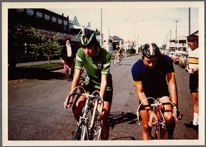 Geoff Willmot on the right and myself on the left, Jock Bullen road bike equipped with Weinmann centre pull brakes. A race at Manilla northern New South Wales about 1977.