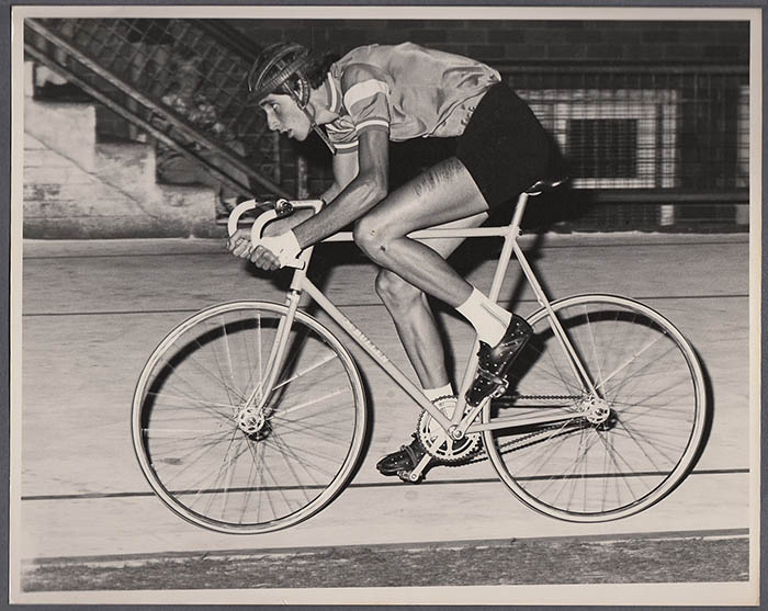Racing at Wiley Park Velodrome on the Jock Bullen track bike at the New South Wales track championships, 1975 -1976 track season, with Mitchell Sport handmade tyres.
