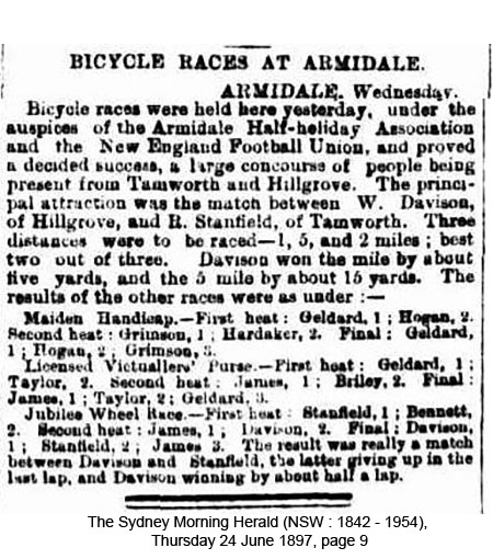 Bicycle racing at Armidale in 1897