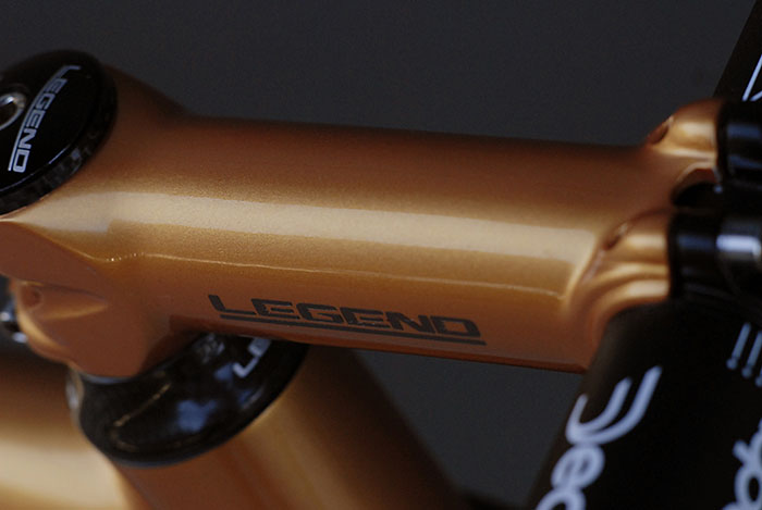 Custom graphics and paint on the Deda stem and stem top cap.