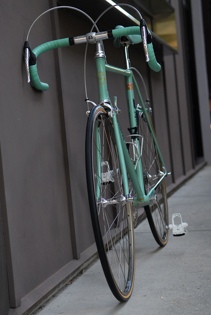 Bianchi celeste bars, saddle and frame.