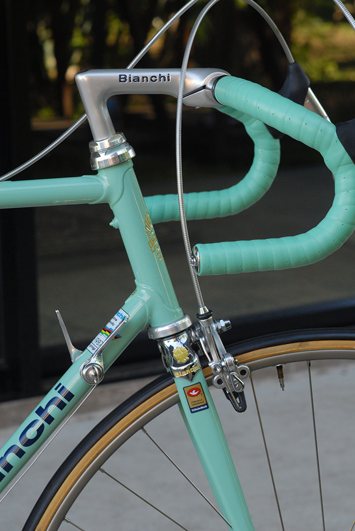 Team issue Ambrosio Bike Ribbon in Bianchi Celeste, finished with black electrical tape and 3ttt bar ends.