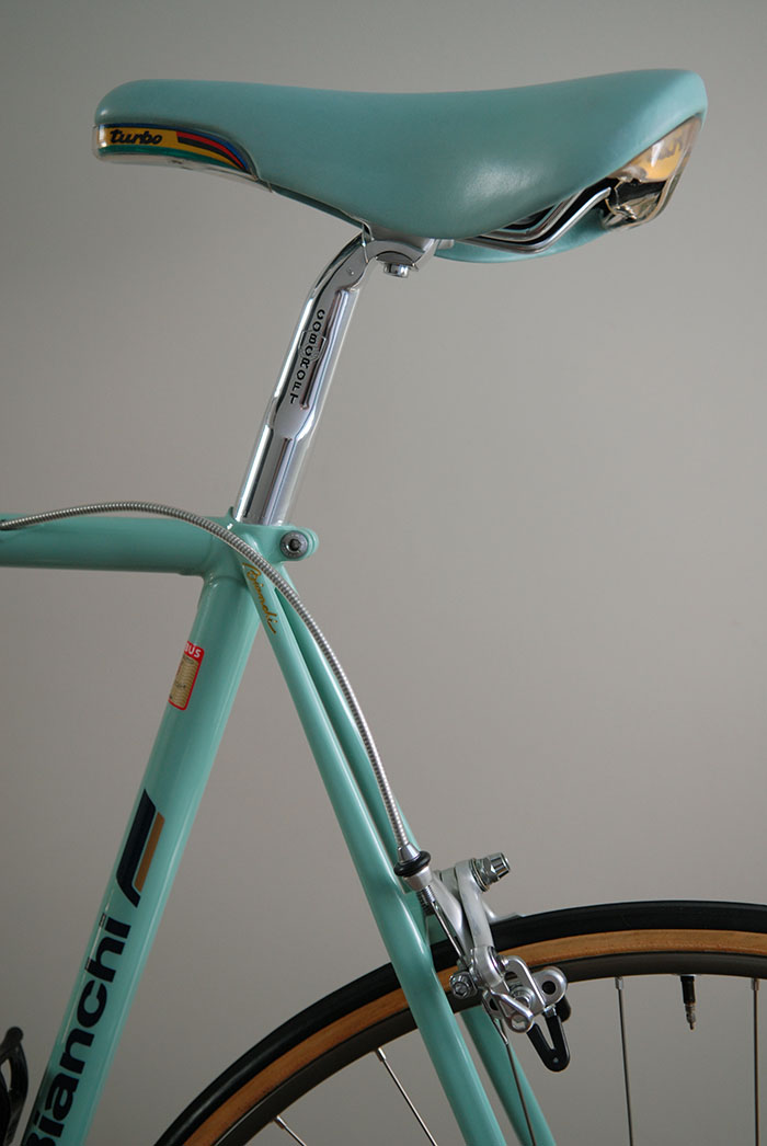 Bianchi celeste, getting the colour match right was difficult without reference to an original factory sample. We got pretty close in the end. When we were able to eventually compare the colour to an original bike we knew we'd nailed it.
