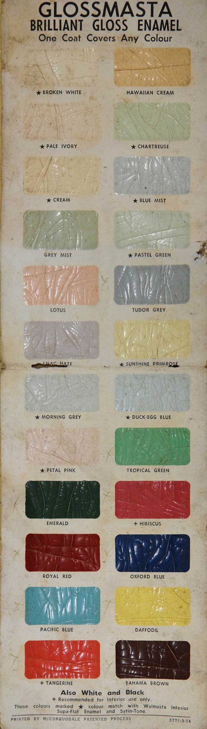 Jack Pesch's Rocket Cycles paint chart for old bicycles. One coat covers all old paint.