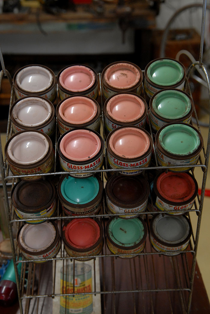 Jack Pesch's Rocket cycles paint tin rack for re-painting old bikes.