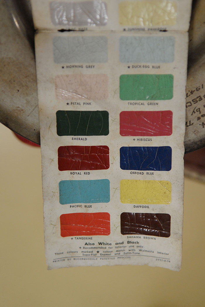 Jack Pesch's well worn Rocket Cycles paint chart for bicycles, houses, automobiles and anything else you can think of.