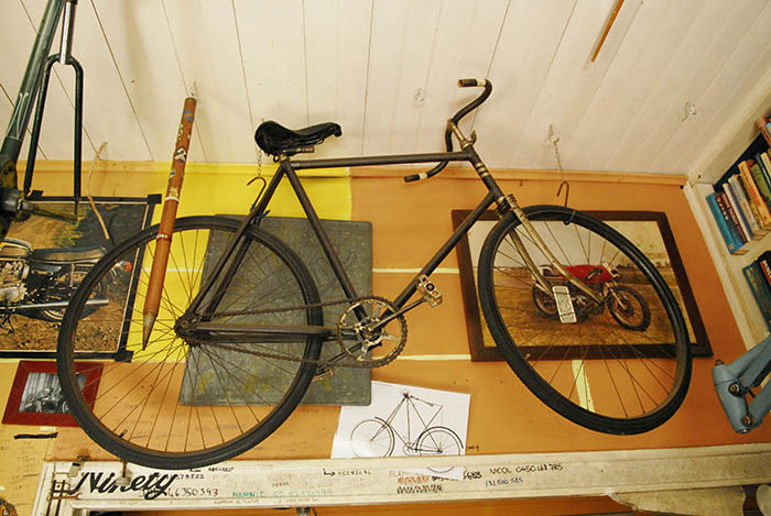 James had a vast collection of vintage motorcycles  before he became interested in old bicycles. The motorcycles were all sold off to make way for his old bicycle collection.