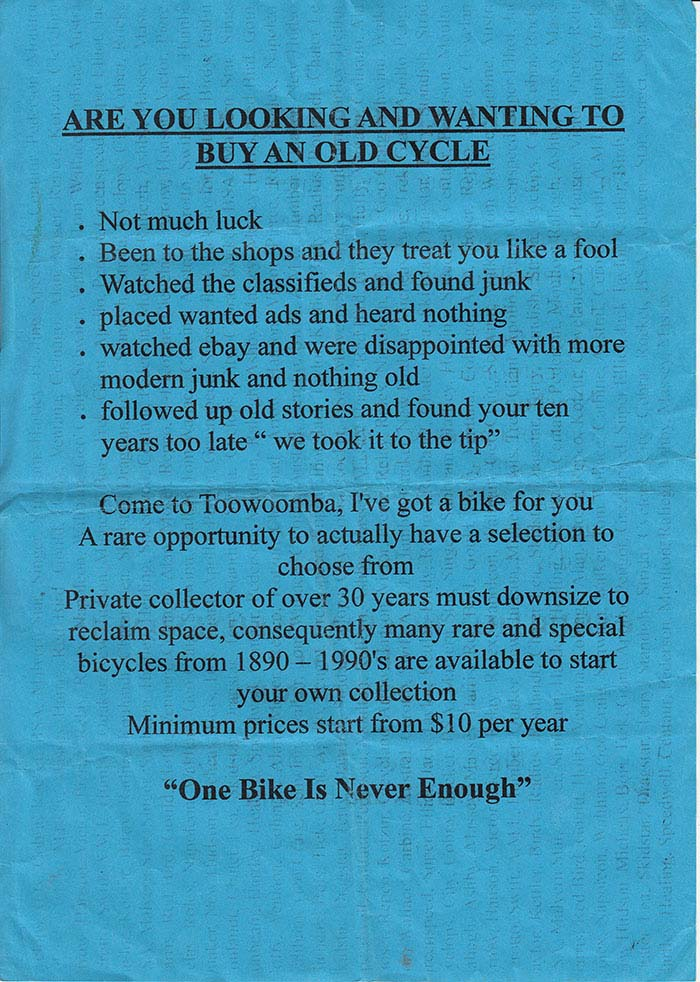 The flyer James Macdonald handed out at Pushies Galore in 2012, printed with a background of hundreds of old bike brand names.