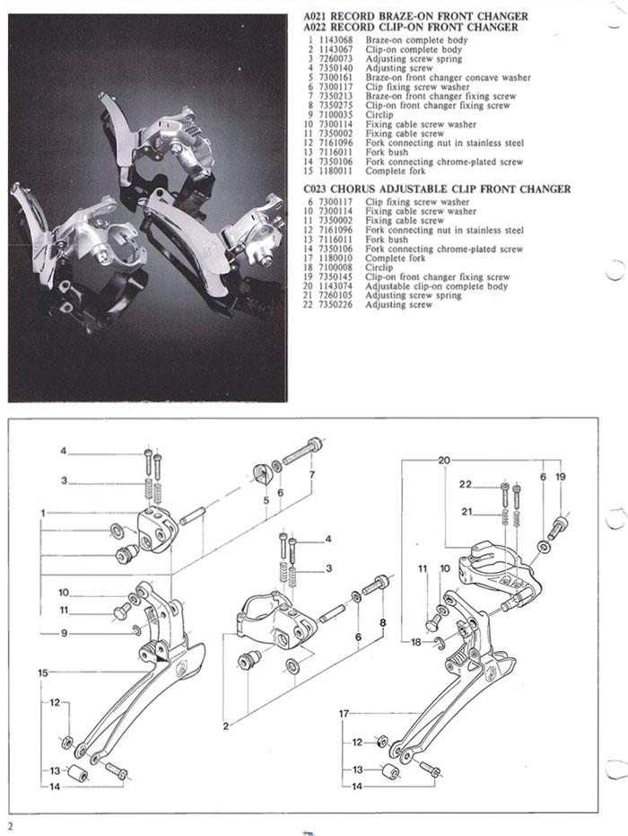 A021 - A022 1988 campagnolo c record front derailleur