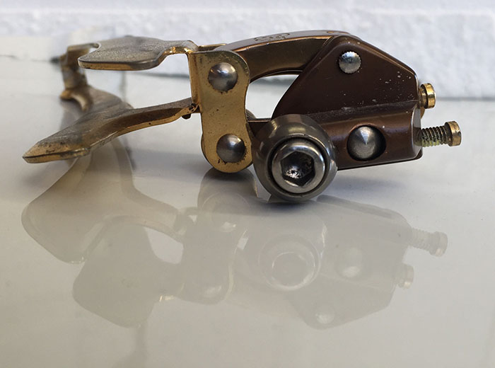 Greg Softley's rare Gerber gold plated Campagnolo C Record 1 Gen front derailleur. Braze on version.