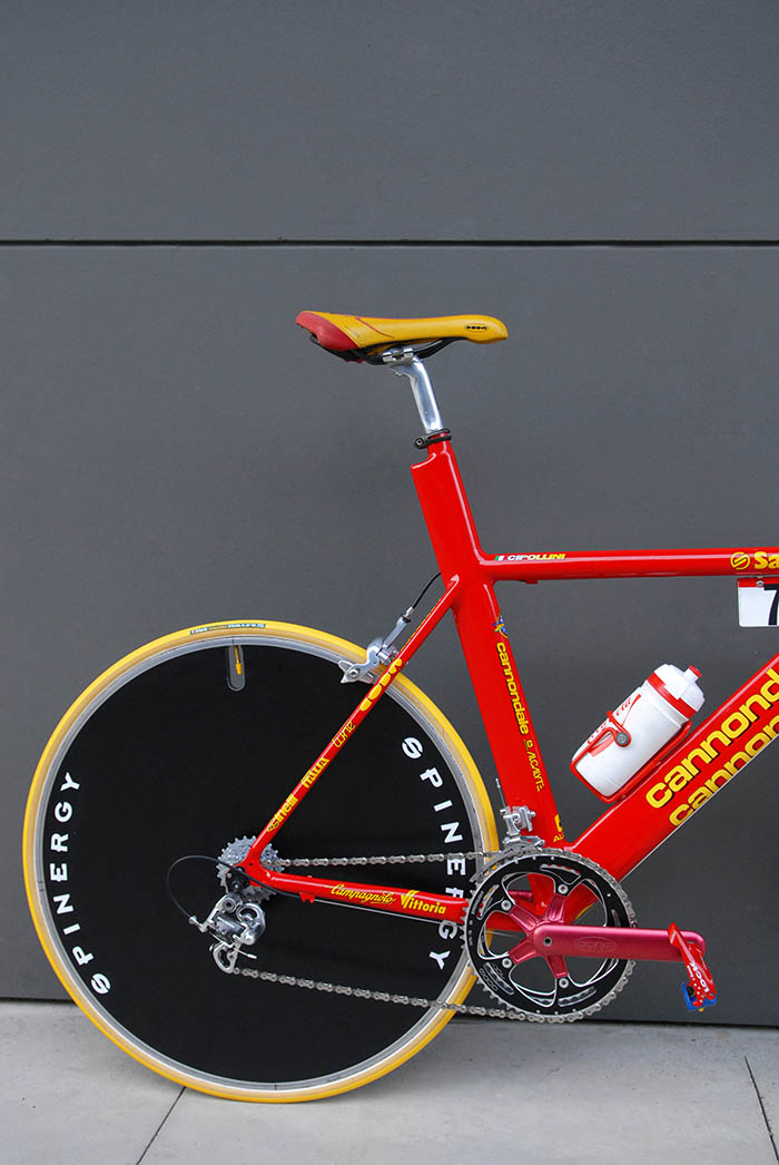 Mario Cipollini 1999 team issue Saeco Cannondale custom time trial bike.