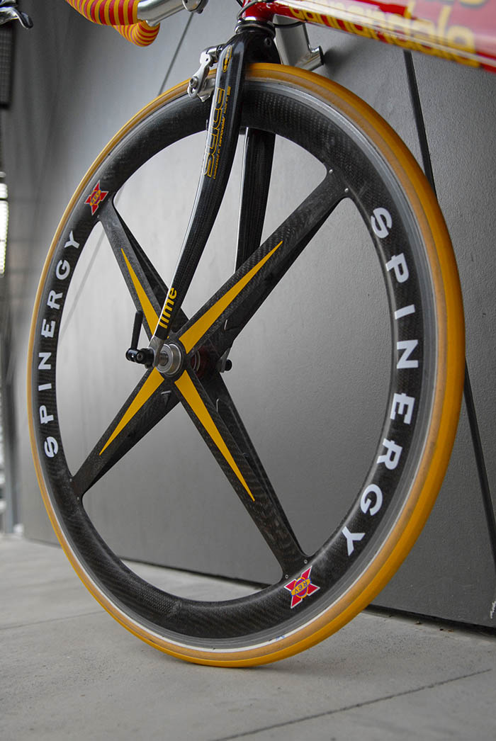 Spinergy front wheel with the stiffest of stiff wheel stiffeners.