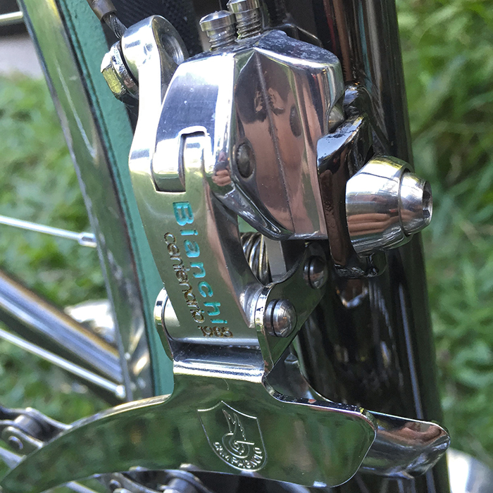 1985 Gen 1 Campagnolo C Record front derailleur, pantographed for a Bianchi Centenario. NOS never ridden.