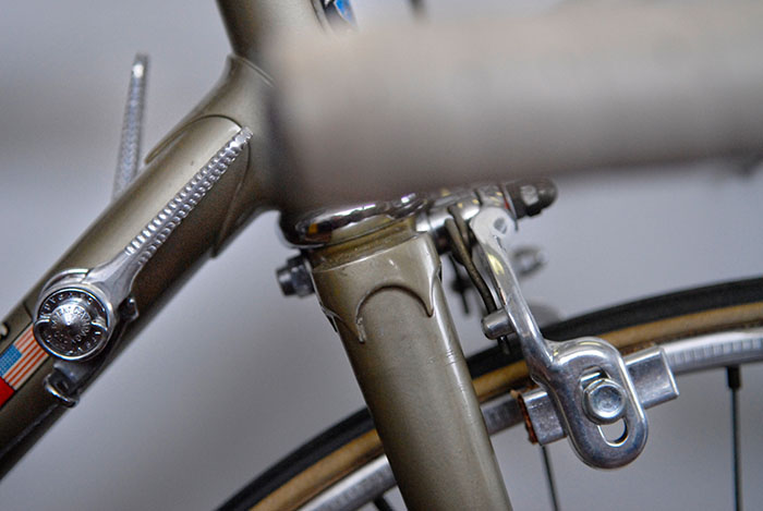 When this Masi Special was re-painted in the early 1970's the original clamp on gear shift levers were replaced with these braze on levers. The main change to the frame was this addition of the gear lever braze on's.