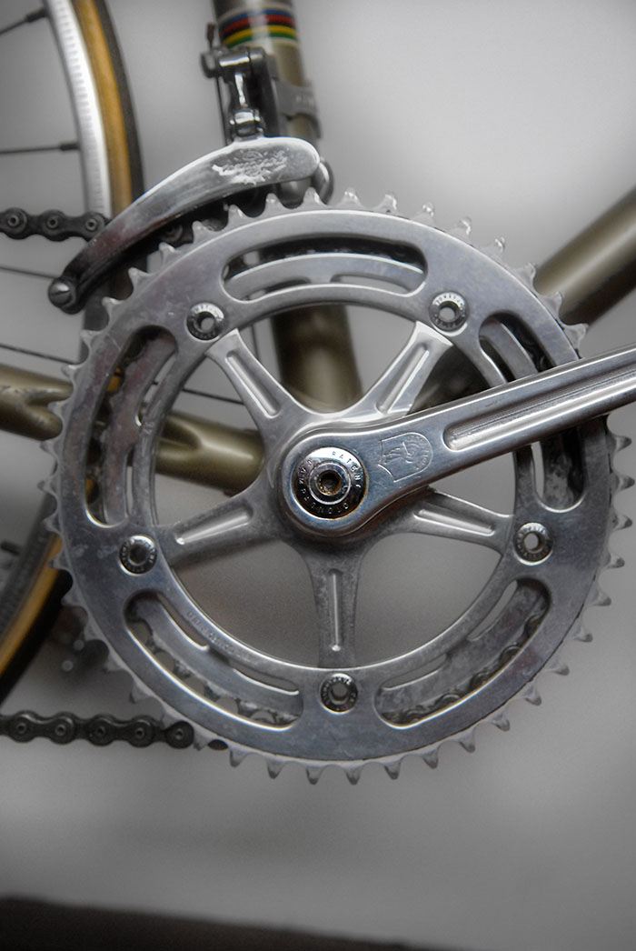 This crankset is the only 135 BCD crankset made by Campagnolo before the advent of C-Record in the mid 1980's. Made on special order for Antonio Maspes in the early 1960's. Both Campagnolo and Masi went to great lengths to ensure that the son of Antonio Maspes, Roberto, had the most exclusive custom junior bike anywhere.