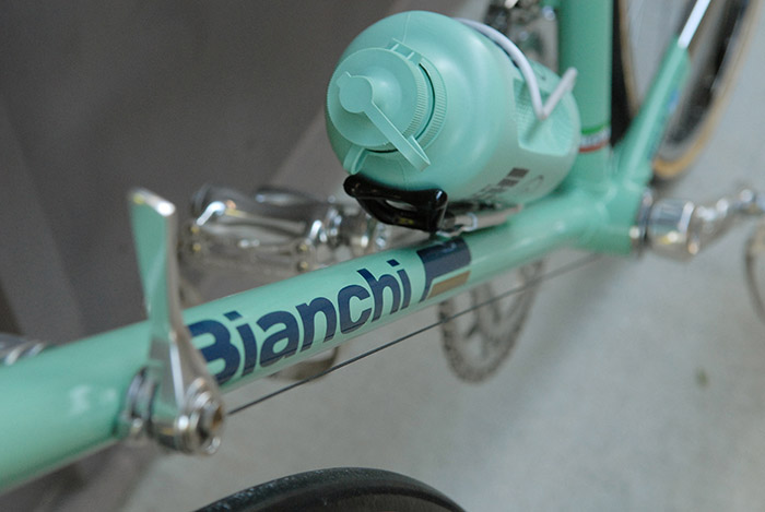 "Bianchi winged logo decal, designed in the early 1980's, special bikes received the bottom ""feather"" of the gold wing, while other bikes received blue."