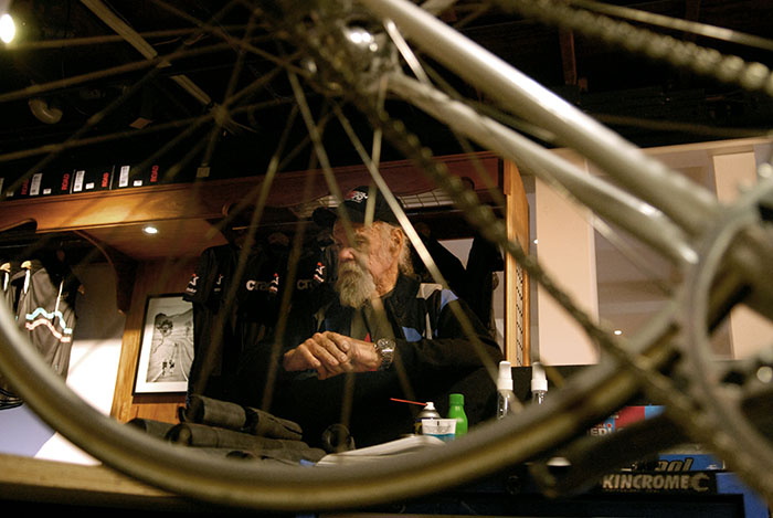 Geoff Scott custom frame builder, in deep thought before his evening chatting to Brisbane Velo Aficionado's.