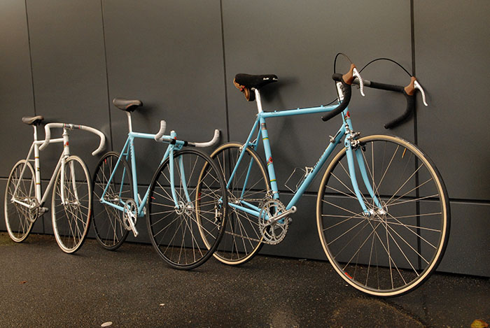 Three of Geoff Scott's favourite bikes lined up.