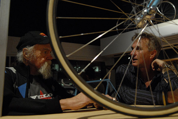 Geoff Scott talking to Peter McClennan, bike collector and long term bike addict.