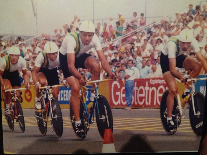 Australian team at Villach Austria 1987 UCI cycling teams time trial world championship. L to R Clayton Stevenson, Steve Rooney, Stephen Fairless, Robert Cobcroft. Photo courtesy of Steve Rooney.
