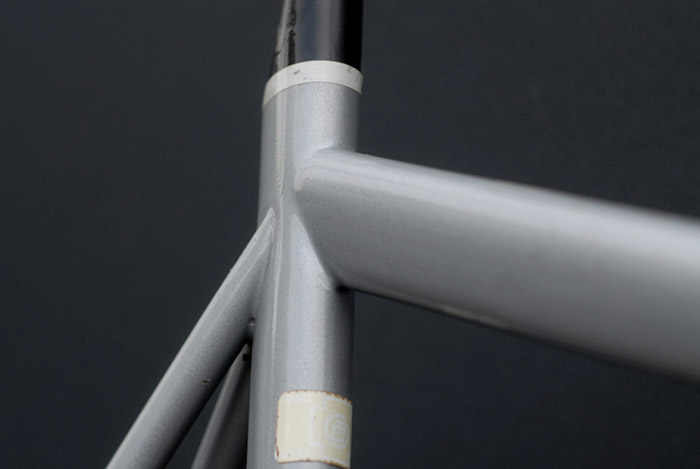 Leo Estermann's custom frames built from the 1960's onwards were detailed with his own siganture lug cuts. This fillet brazed time trial bike is a departure from his more traditional lugged steel work.