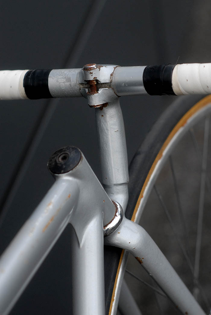 "Some of Leo Estermann's frames received decals with ""Cycles Estermann Zurich"" not this funny bike. Painted in an austere grey, apparently a signature colour for many Estermann built frames."
