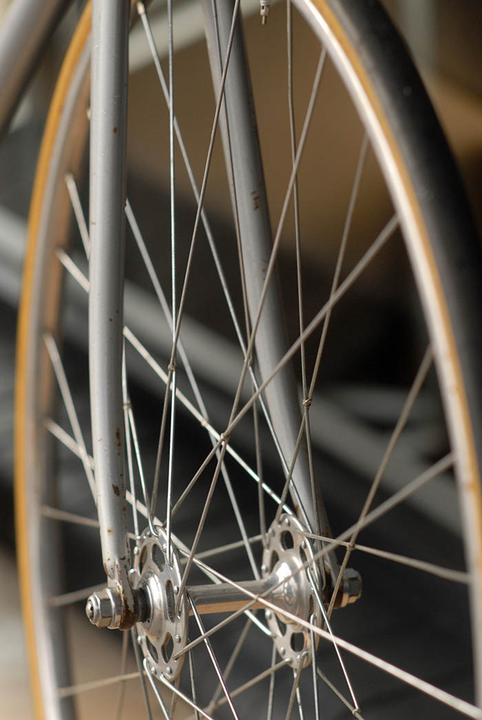 Tied and soldered front wheel.