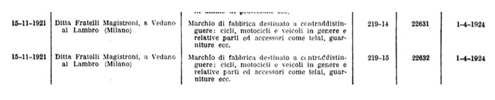 Fratelli Magistroni registered the F.M.V [Fabbricazioni Meccaniche Vedano] Manufacturing cranks, frames, bicycles, parts for motorcycles and related vehicles.