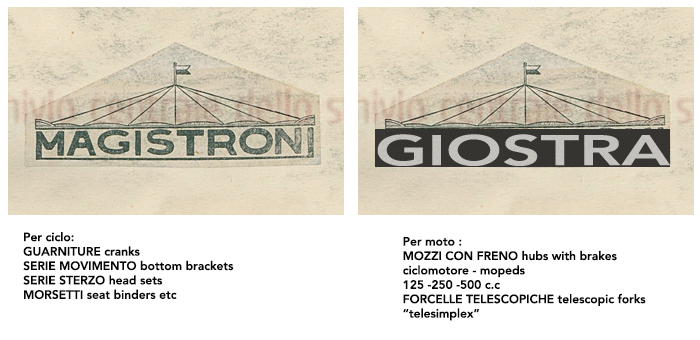 By the early 1950's Officine Meccaniche di Vedano were manufacturing bicycle parts under the trademark of Magistroni and Moped parts using the Giostra trademark.