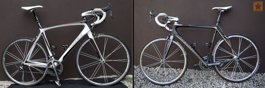 The 2007 and 2010 Trek Madone bikes. The white bike cracked along the seat tube and the 2010 Madone was replaced on a paint warranty.