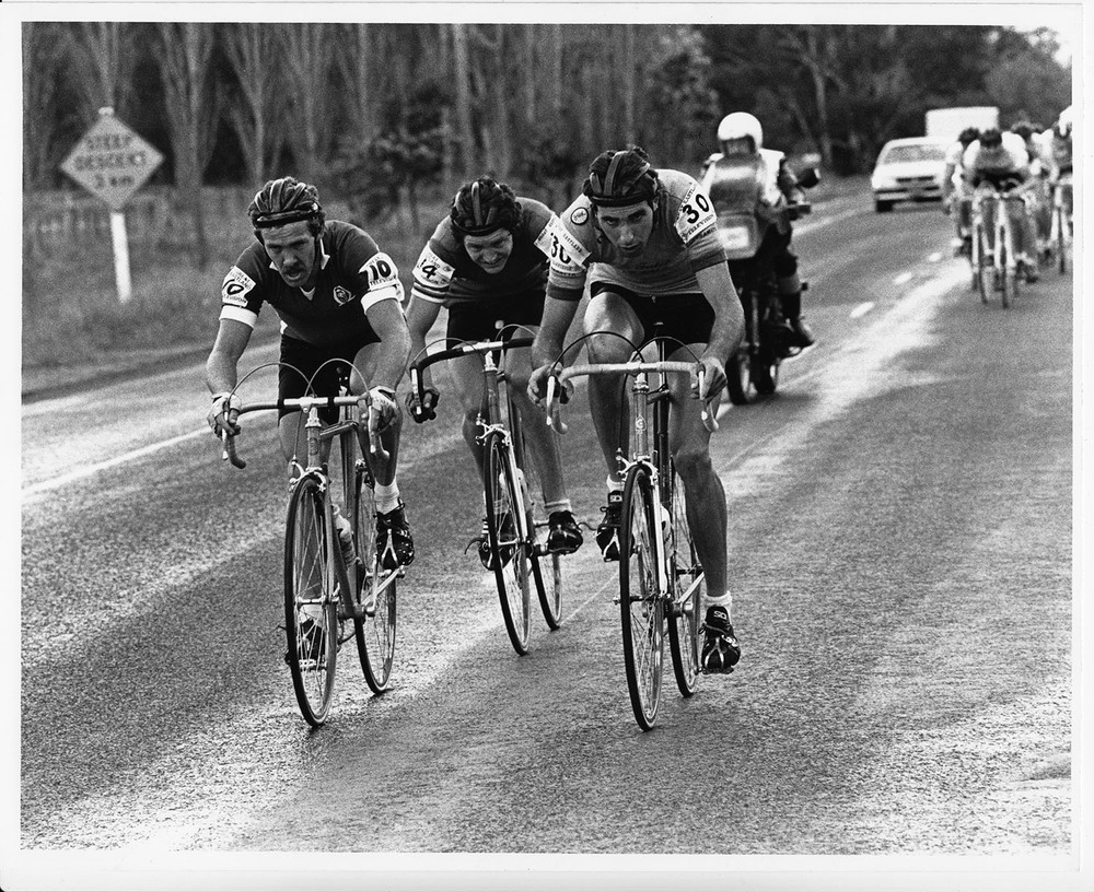 Grafton to Inverell 1984, Kerry Carmichael Queensland, left and Keith Davis Western Australia centre, Robert Cobcroft New South Wales on the right. Image credit Dennis Lane.