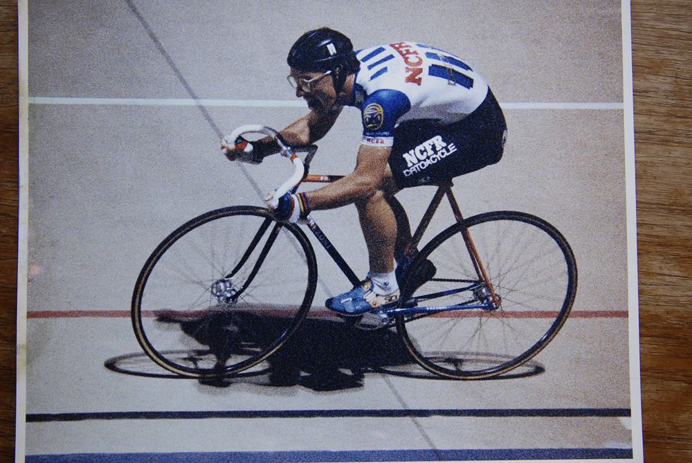 John Caskey at Chandler Velodrome in the 1980's. Image from the John Whip archive, photographer unknown.