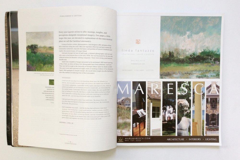 Publisher's letter + two ads- both designed by CjD.  Top Artist,Linda Fantuzzo.  Bottom, Maresca & Associates.