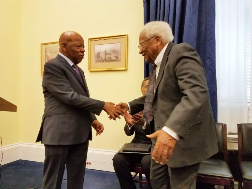 Rep. John Lewis, D-Ga., greets the Rev. James Lawson at a reception on Nov. 14, 2018, at which members of Congress announced support of legislation to recognize Lawson with a Congressional Gold Medal. RNS photo by Adelle M. Banks