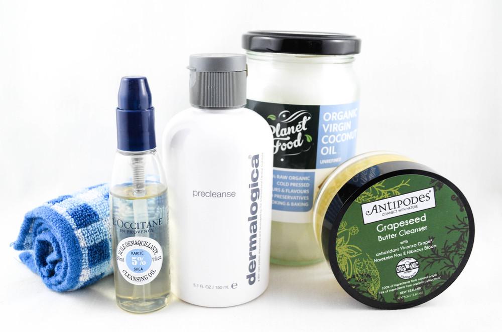 L'occitane - Huile Demaquillante 5% Shea Cleansing Oil, Dermalogica - precleanse, Organic Coconut oil, Antipodes - Grapeseed Butter Cleanser