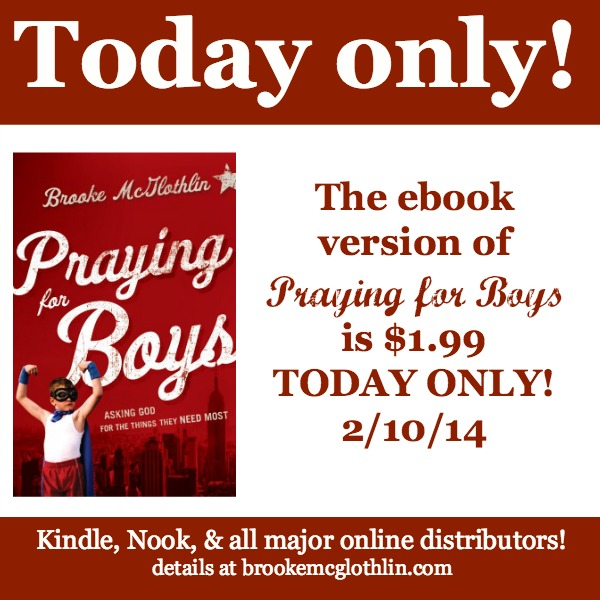 Grab the ebook version of Praying for Boys for just $1.99 TODAY ONLY (2/10/14)! Details at www.brookemcglothlin.com