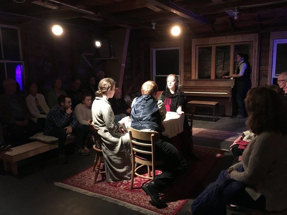Catherine reads tarot for Clara (Julia Larsen) and Lo (Patrick Harvey).  Three Seconds  at the Barn Arts Collective, October 2017.