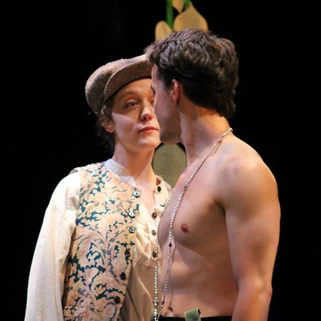 Rosalind and Orlando (Logan Sutton) challenge one another.  As You Like It,  July 2018.
