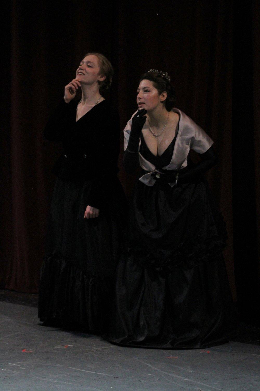 "Rosalind and Celia (Tamara Sevunts) swear ""by their beards.""  As You Like It,  July 2018."
