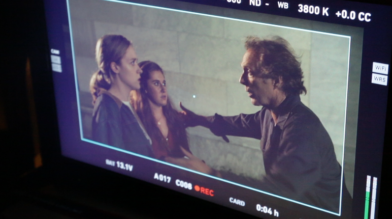Filming a scene in the feature film  Cold Brook,  with Randi Langdon and William Fichtner. Summer 2017.
