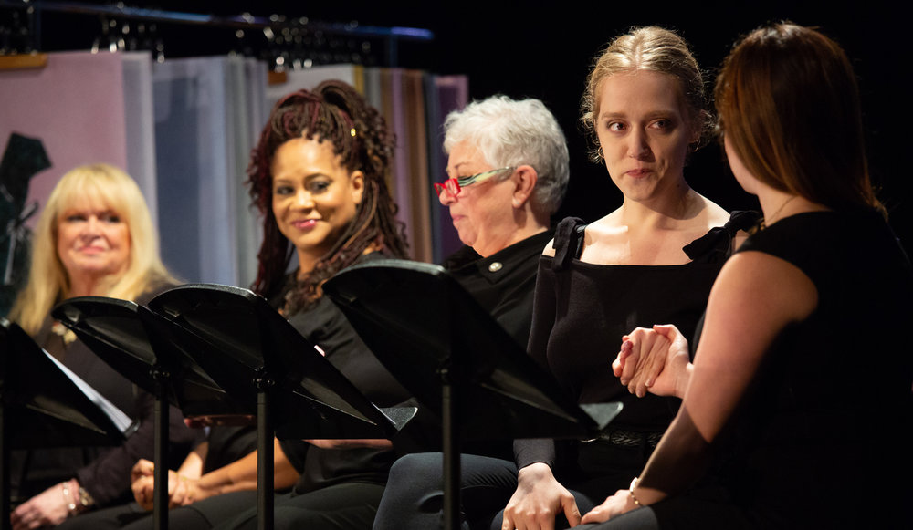 Sally Struthers, Kim Coles, and Joyce Reehling look on at Olivia Rose Barresi and Ashley Grossman in  Love, Loss, and What I Wore.  Photo credit Tim Sawyer, October 2018.