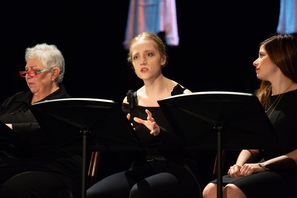 Olivia Rose Barresi in  Love, Loss, and What I Wore,  with Joyce Reehling on L and Ashley Grossman on R. Photo credit Tim Sawyer, October 2018.