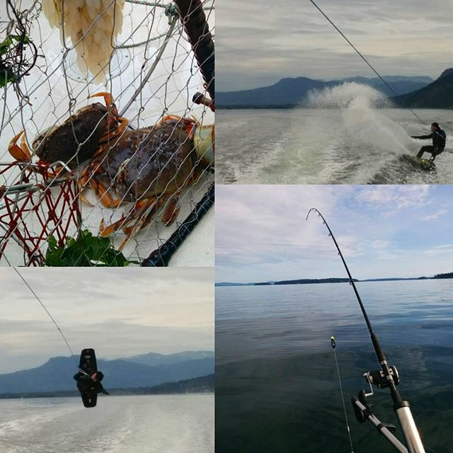 Cloudy skies can't stop us. Wakeboarding, salmon fishing and crabbing all make for a great day out on the water in the Georgia Straight between Vancouver Island and mainland BC. #wakeboard #salmon #fishing #boating #crabbing #exploreBC #adventurebucketlist #beautifulbritishcolumbia #coldwater #summerfun