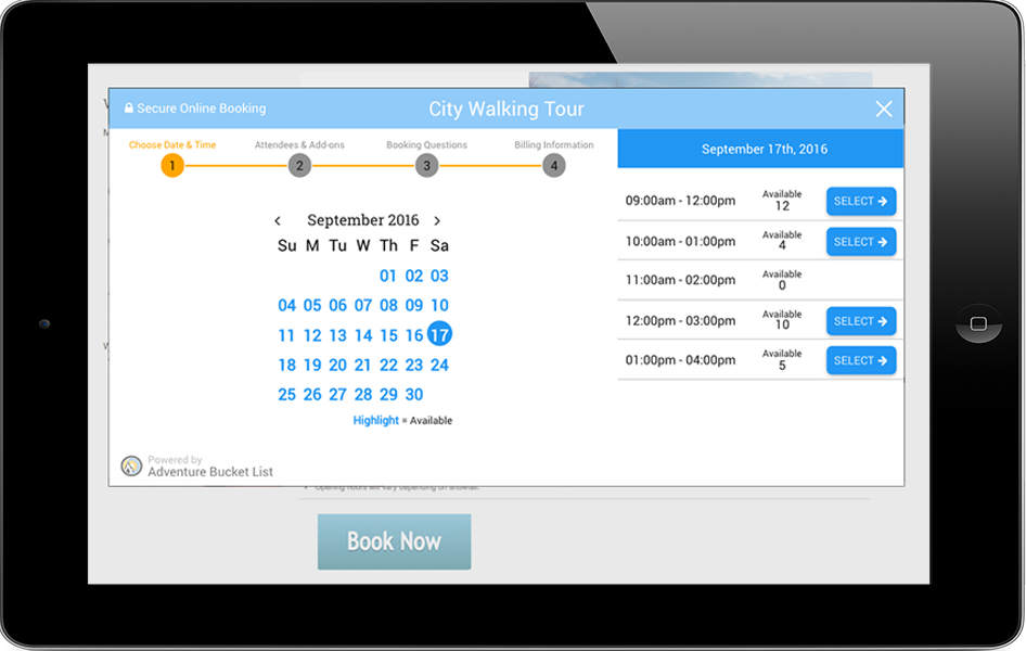 This is how the ABL Agenda online booking system can display our real-time on-demand inventory to your website visitors.