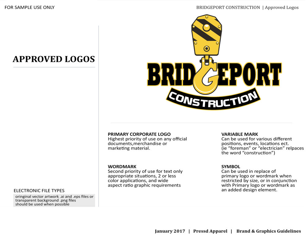 Pressd Brand Guide Sample Page