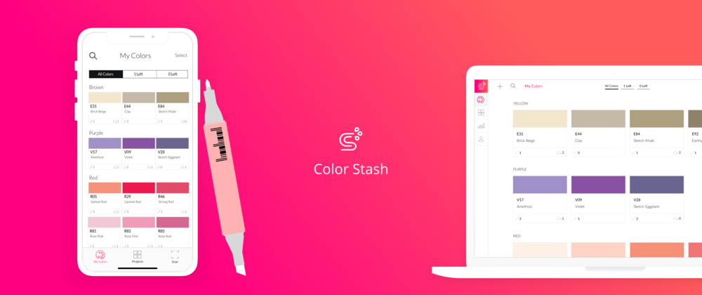 Color Stash  |  Mobile & Web  -   Providing artists a better way to keep track of their color inventory.   Learn More