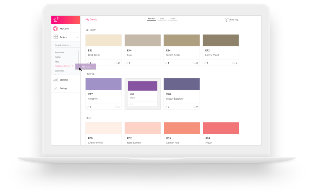 An example of moving a color card to a project