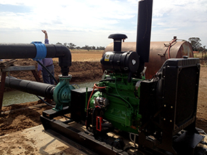 John Deere Diesel Motor and Southern Cross Pump Set up for Reinke pivot irrigation project watering cotton.